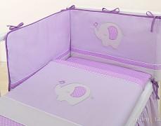 Souprava do postýlky 3dílná fialové slůně