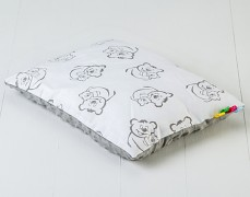 Polštářek bílo-šedý medvídek