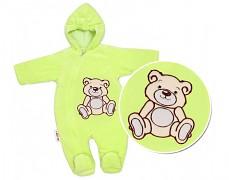 Kombinéza zelený Teddy Bear, velurová