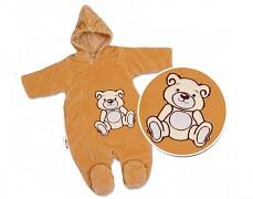 Kombinéza hnědý Teddy Bear, velurová