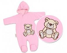 Kombinéza růžový Teddy Bear, velurová