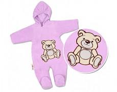 Kombinéza fialový Teddy Bear, velurová