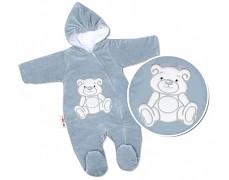 Kombinéza šedý Teddy Bear, velurová