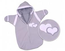 Dětský spací pytel šedý srdíčko