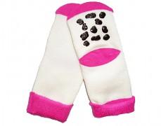 Ponožky protiskluzové bílé/růžová 19-22m