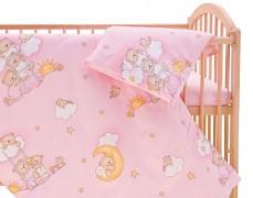 Dětské povlečení růžové se spícími medvídky