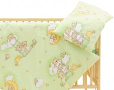 Dětské povlečení zelené se spícími medvídky