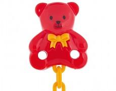 Řetízek na dudlík červený medvídek