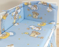 Mantinel modrý se spícími medvídky