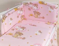 Mantinel růžový se spícími medvídky