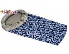 Fusak modrý kosočtverce ESKYMO s kožíškem