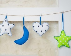 Girlanda zelená hvězda s modrou