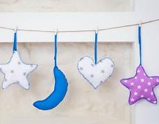 Girlanda fialová hvězda s modrou