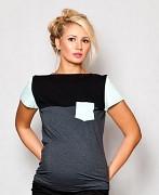 Těhotenské triko šedo-bílo-černé s kapsou, kr. rukáv