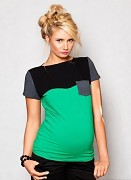 Těhotenské triko zeleno-šedo-černé s kapsou, kr. rukáv