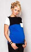 Těhotenské triko modro-bílo-černé s kapsou, kr. rukáv