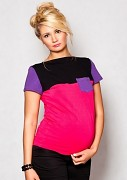 Těhotenské triko růžovo-fialovo-černé s kapsou, kr. rukáv
