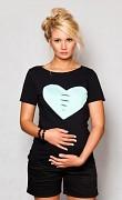Těhotenské triko černé se srdcem