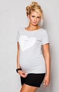 Těhotenské triko šedé světlé se srdcem