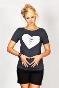 Těhotenské triko šedé tmavé se srdcem