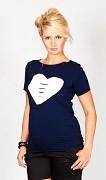 Těhotenské triko modré tmavé se srdcem