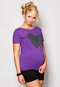 Těhotenské triko fialové se srdcem