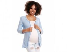 Těhotenský modrý svetříkový kabátek