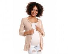 Těhotenský béžový svetříkový kabátek