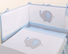 Souprava do postýlky 3dílná modrý slon