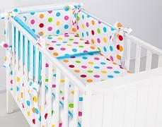 Dětské povlečení barevné puntíky tyrkys