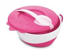 Dětská růžová miska s lžičkou kravička