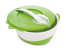 Dětská zelená miska s lžičkou kravička