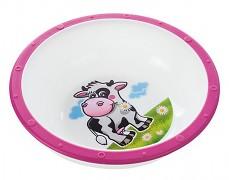 Plastová miska s protiskuzovým dnem růžová kravička