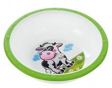Plastová miska s protiskuzovým dnem zelená kravička