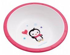 Plastová miska s protiskuzovým dnem růžová Tučňák