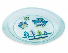 Plastový talíř modrý Sova