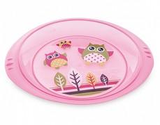 Plastový talíř růžový Sova