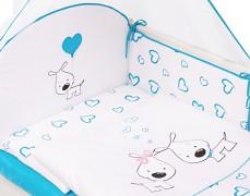 Souprava do postýlky 3dílná modrá PUPPY LOVE