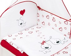 Souprava do postýlky 3dílná červená PUPPY LOVE