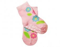 Ponožky růžové kytičky 6m+ protiskluzové