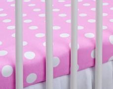 Bavlněné prostěradlo růžový puntík