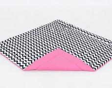 Přebalovací a hrací podložka černý ZigZag s růžovou