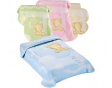 Dětská deka modrá s medvídkem na měsíci