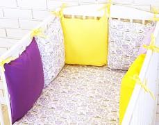 Souprava do postýlky 3dílná fialový sweets