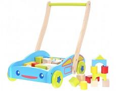 Dřevěný vozík autíčko s kostkami