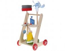Dřevěný úklidový vozík s doplňky