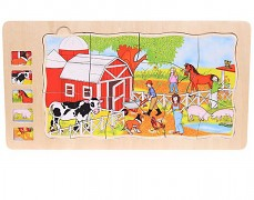 Dřevěné vrstvené puzzle Farma