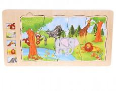 Dřevěné vrstvené puzzle Džungle