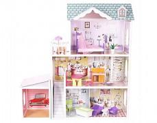 Dřevěný domek pro panenky s garáží