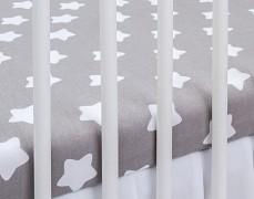 Bavlněné prostěradlo šedo-bílé hvězda